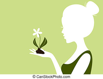 Protect the Nature - Illustration of a young woman holding...