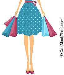 niña, compras, Bolsas