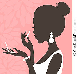 Powder Pink Series - Illustration of a young beautiful woman...