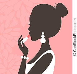 Lipstick Pink Series - Illustration of a young beautiful...