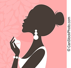 Perfume Pink Series - Illustration of a young beautiful...