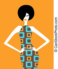 Retro Fashion - Illustration of a fashion model posing in an...