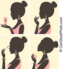 Beauty Routine - Illustration of a young beautiful woman and...