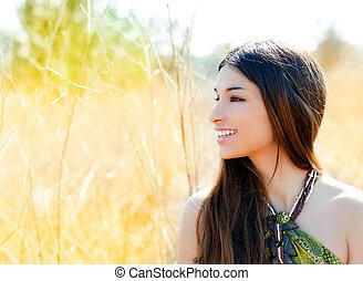 perfil, dorado, mujer, campo, indio, asiático, retrato