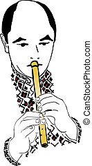 Piper black and white male musician on wind instruments