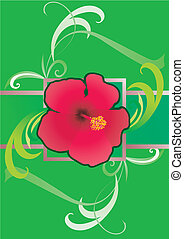 hibiscus green  border illustration