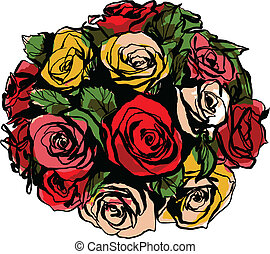 bouquet of colorful roses on a white background