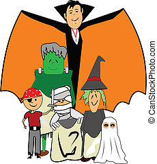 halloween kids in costume - kids dressed in Halloween...