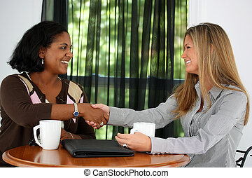 Business Team - Two Women Shaking Hands In An Office