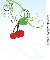 curved cherries vector image