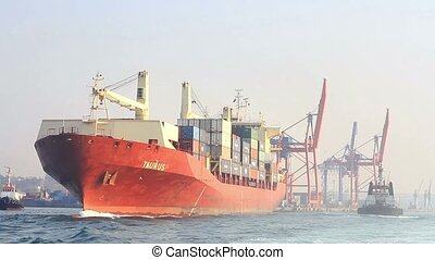 Container ship sails out - Container ship sails from the...