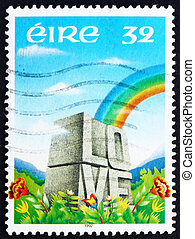 Postage stamp Ireland 1992 Rainbow and LOVE Etched in Stone...