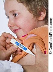 enfermo, niño, medición, fiebre