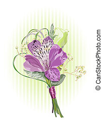 Alstroemeria and Eustoma. Vector illustration.