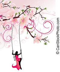 girl swing and sakura (blossoming cherry)