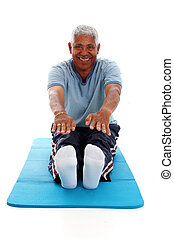 Man Working Out - Senior hispanic man working on a white...
