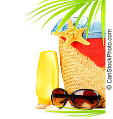 Conceptual summer fun border, beach items isolated on white...