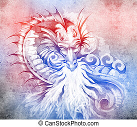 Sketch of tattoo art, fantasy medieval dragon with white...