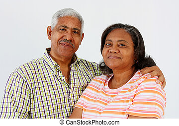 Senior Couple - Senior Minority Couple Set On A White...