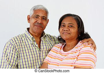 Senior Couple - Senior Minority Couple Set On A White...