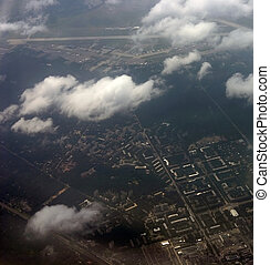 kind on a city from an airplane from the height of bird flight