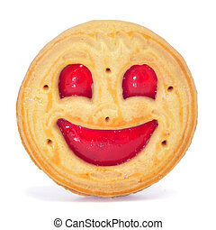 smiley biscuit - closeup of a smiley biscuit on a white...