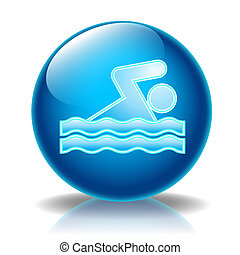 Swimming glossy icon - Illustration icons for web, Swimming...