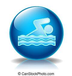 natação, lustroso, ícone