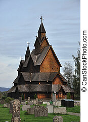 Wooden Stave Church in Heddal, Norway - Old Wooden Stave...