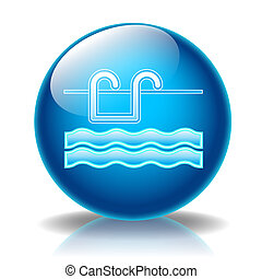 Swimming pool glossy icon - Illustration icons summer for...