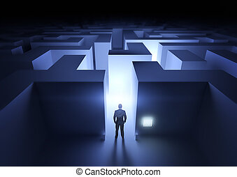 Business Challenge - A businessman at the entrance to a maze...