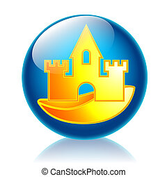 Sandcastle glossy icon - Illustration icon's summer for web,...