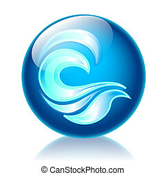 Waves glossy icon