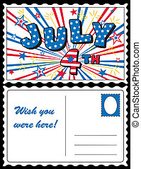 Postcard, July 4 Stars and Stripes - Retro July 4 postcard,...
