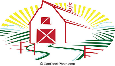 Sunrise Farm - Abstract farm with fence, road and fields