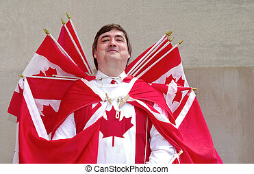 Captain Canada - Celebrating Canada Day, a man is dressed...