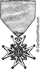 Cross of the Order of Saint-Louis, vintage engraving