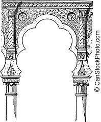 Lobe, vintage engraving - Lobe, shown is a 5-lobed Moorish...
