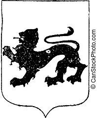 Walking Lion in Coat of Arms, vintage engraving