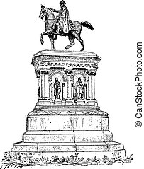 Statue of Charlemagne in Liege, Belgium, vintage engraving -...
