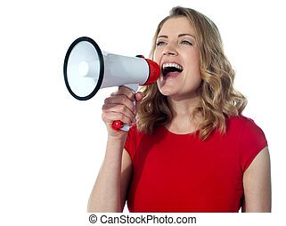 Gorgeous female with megaphone - Gorgeous female speaking...
