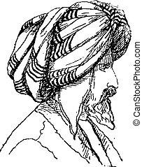 Afghan Turban, vintage engraving - Afghan Turban, vintage...