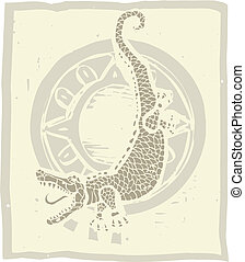 Alligator Circle - Woodblock print style image of an...