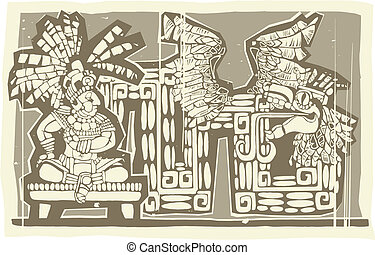 Woodblock Mayan King B - Woodblock print style image of a...