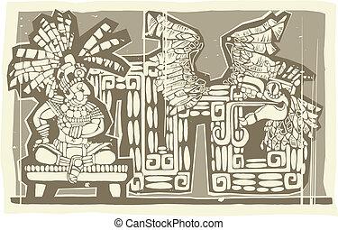 Woodblock Mayan King B