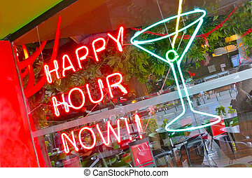 Happy Hour Now - A neon window sign, %u201CHappy Hour...