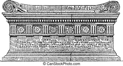 Tomb of Lucius Cornelius Scipio Barbatus, vintage engraving....