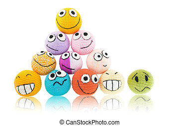 Lot of smileys in pyramid - Lot of handmade colored smileys...