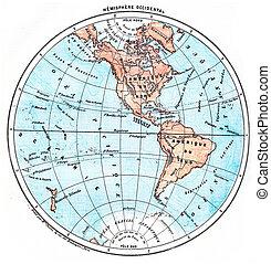 Earth, Western Hemisphere, vintage engraving. - Earth,...