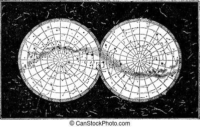 Milky Way, vintage engraving. - Milky Way, vintage engraved...